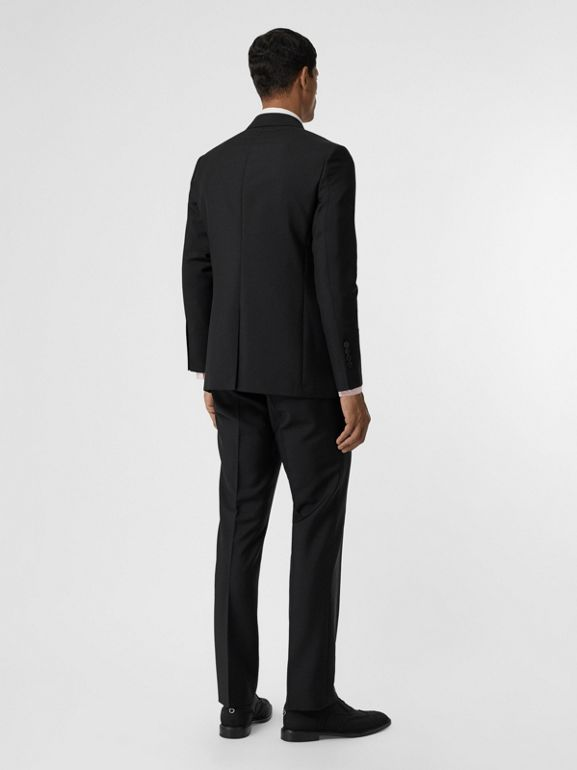 Slim Fit Wool Mohair Suit in Black - Men | Burberry United Kingdom - cell image 1