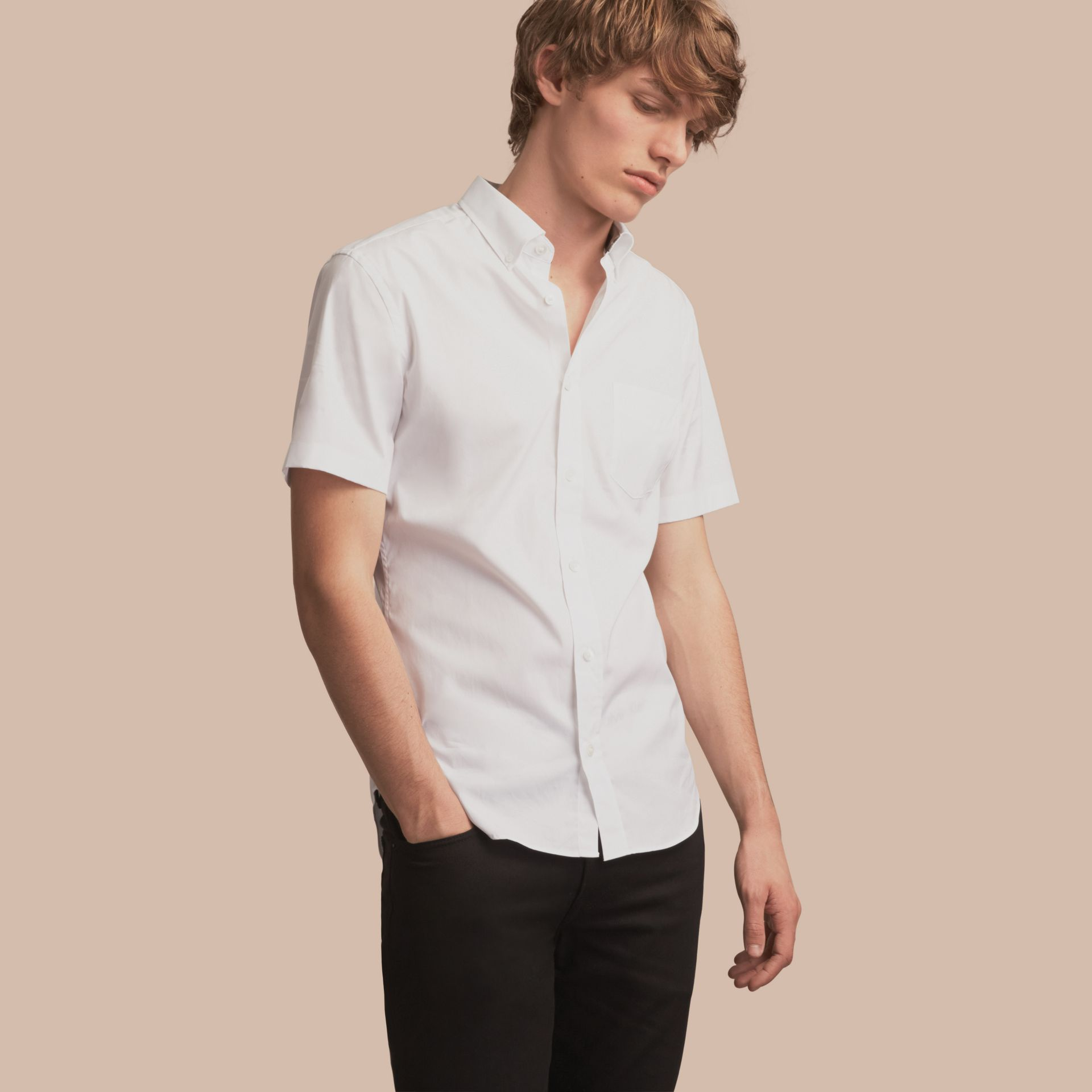 White Short-sleeved Stretch Cotton Poplin Shirt White - gallery image 1