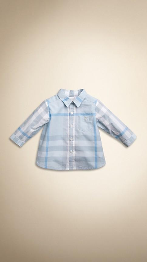 Bleu porcelaine Chemise en coton en check délavé - Image 1