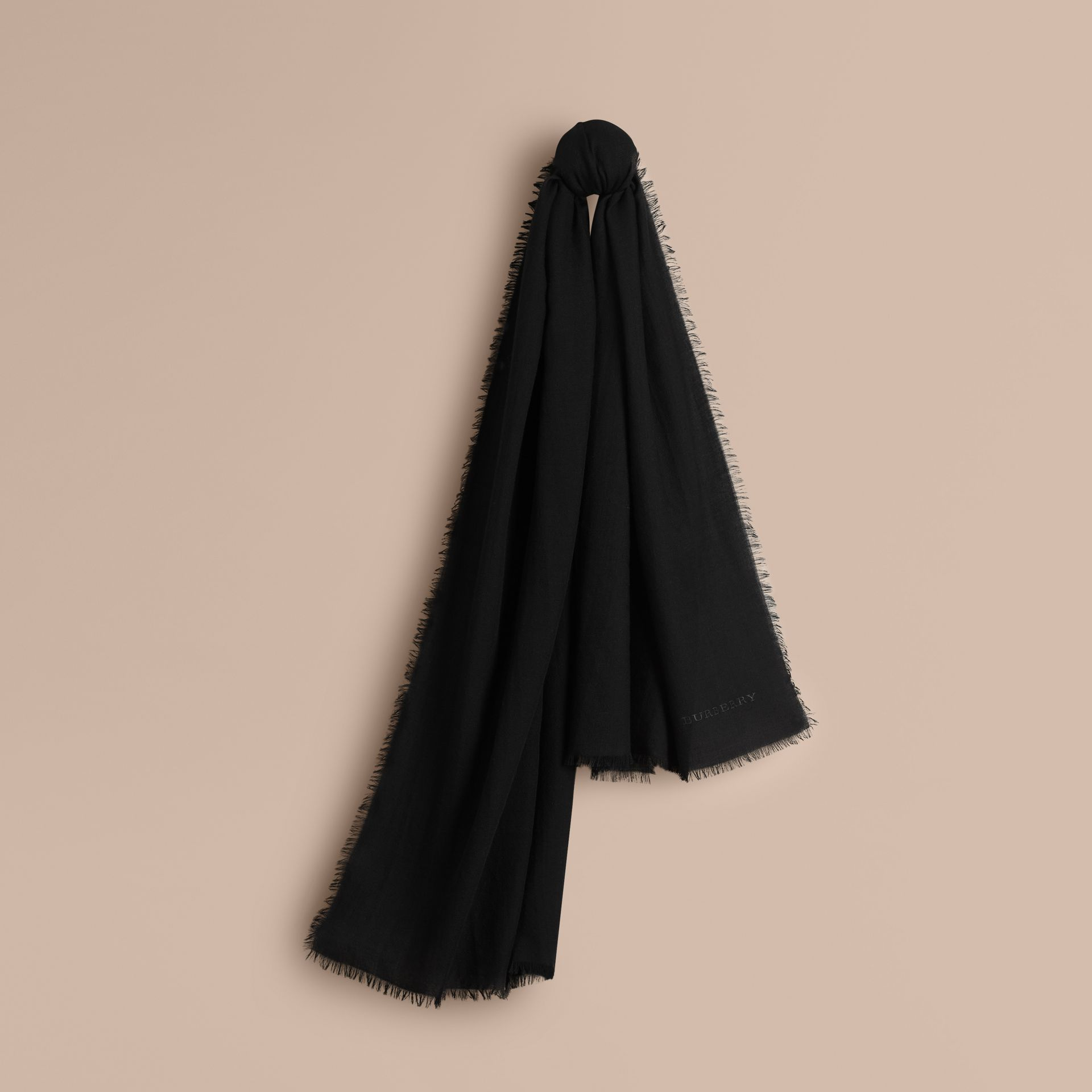The Lightweight Cashmere Scarf in Black - gallery image 6