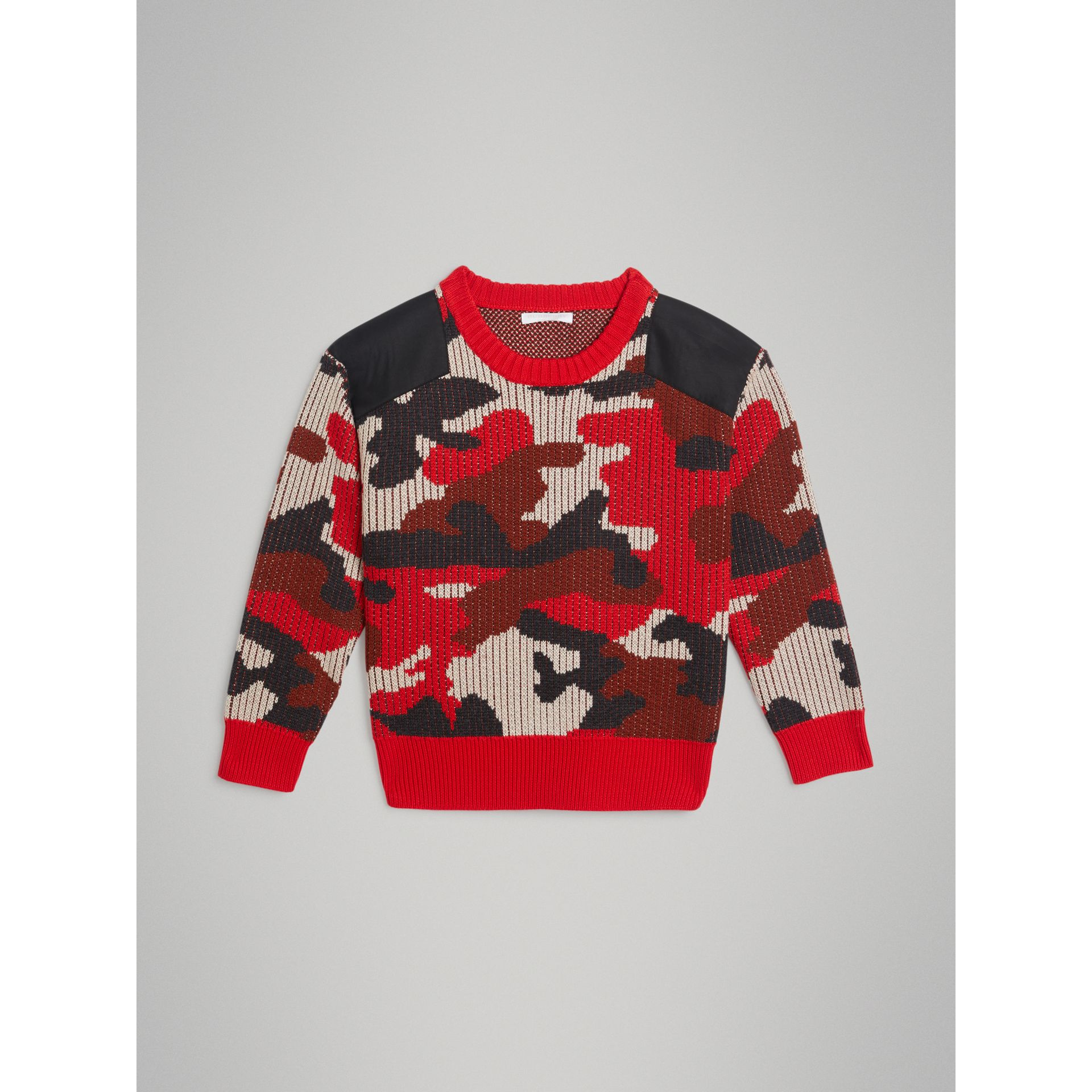 Camouflage Merino Wool Jacquard Sweater in Bright Red | Burberry - gallery image 0