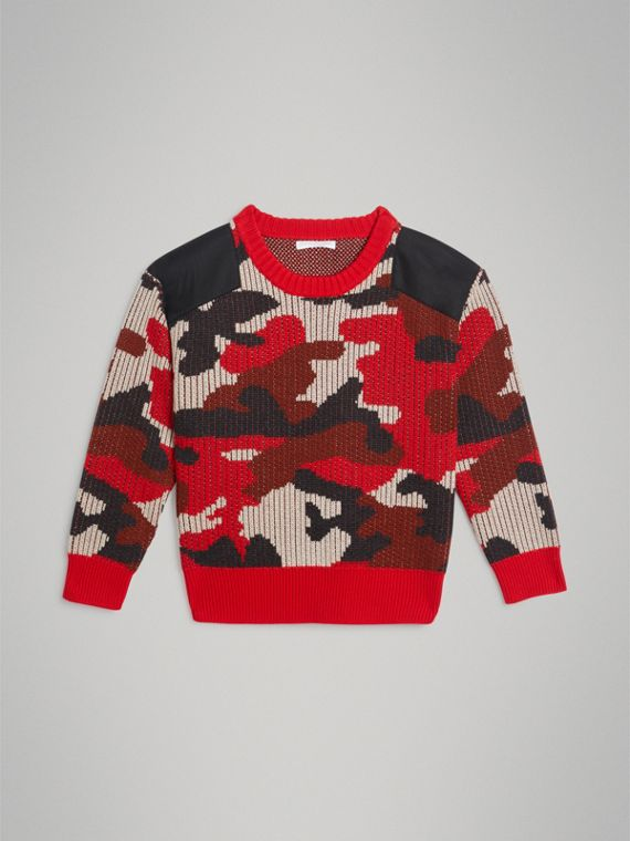 Camouflage Merino Wool Jacquard Sweater in Bright Red
