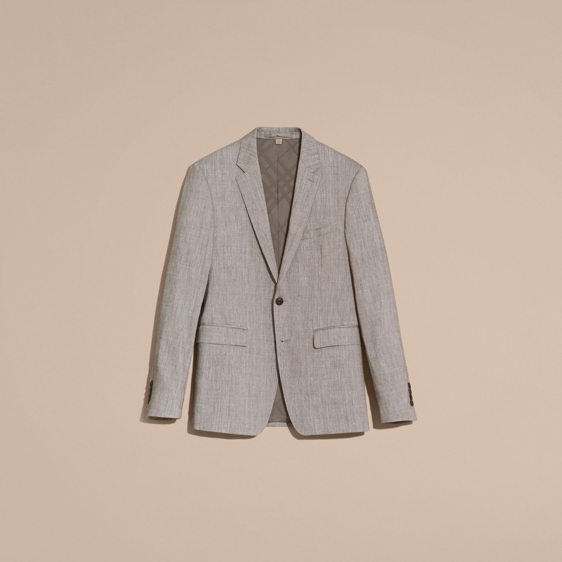 Slim Fit Travel Tailoring Linen Wool Blend Suit - Men | Burberry Singapore - gallery image 4