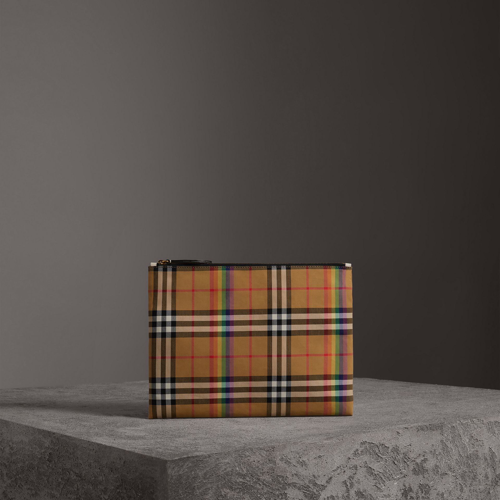 Medium Rainbow Vintage Check Pouch in Natural | Burberry United States - gallery image 0