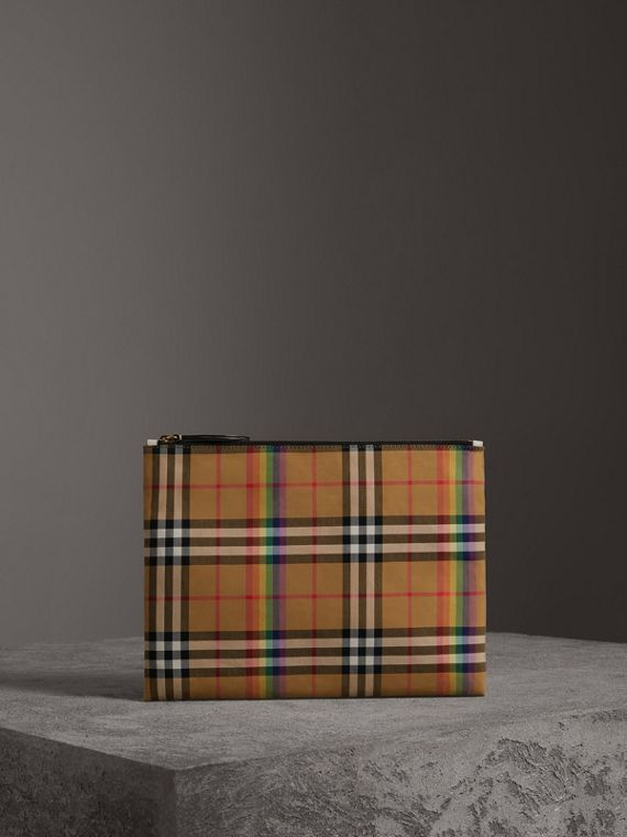 Medium Rainbow Vintage Check Pouch in Natural
