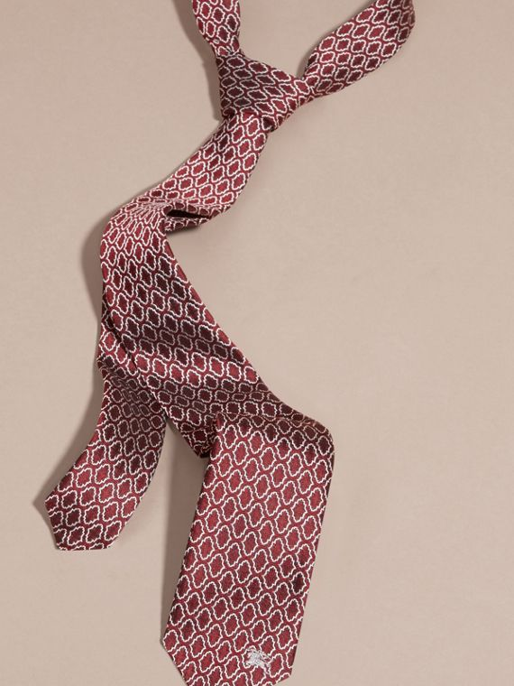 Slim Cut Geometric Jacquard Silk Tie Parade Red