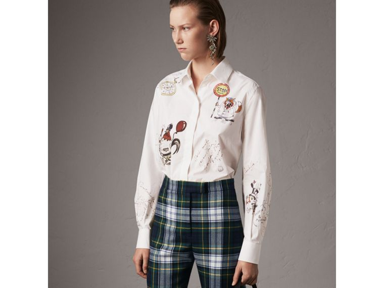 Sketch Print Cotton Shirt in White - Women | Burberry United States - cell image 4
