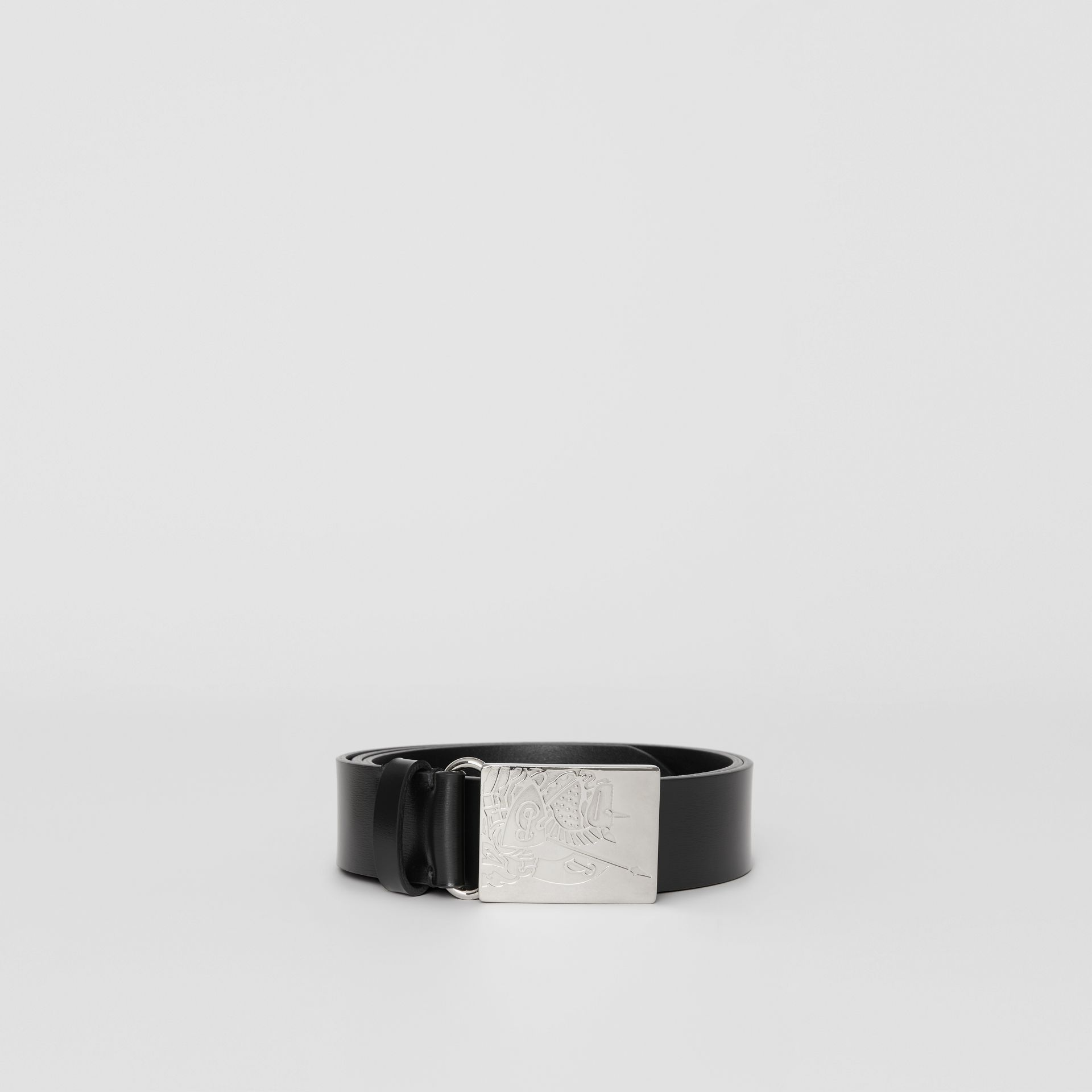 EKD Plaque Buckle Leather Belt in Black - Men | Burberry United Kingdom - gallery image 3