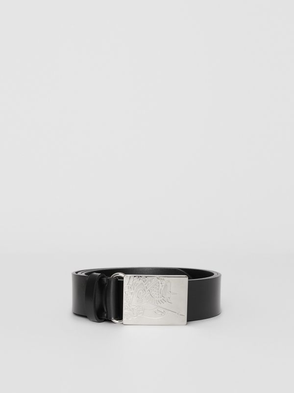 EKD Plaque Buckle Leather Belt in Black - Men | Burberry Singapore - cell image 3