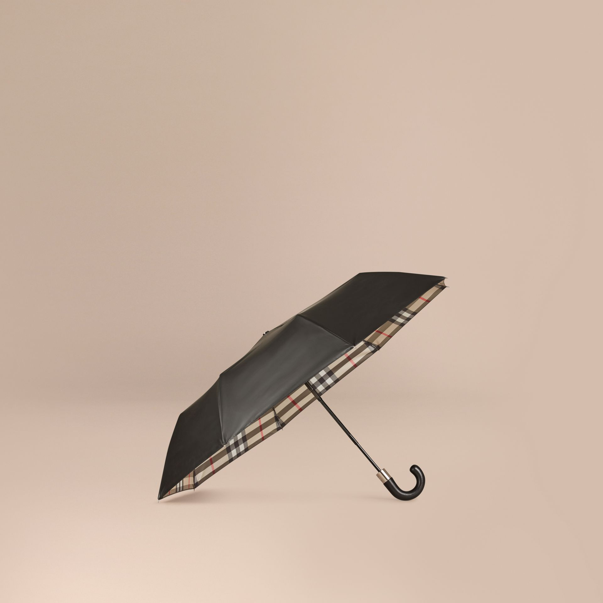 Check-lined Folding Umbrella in Camel - gallery image 1