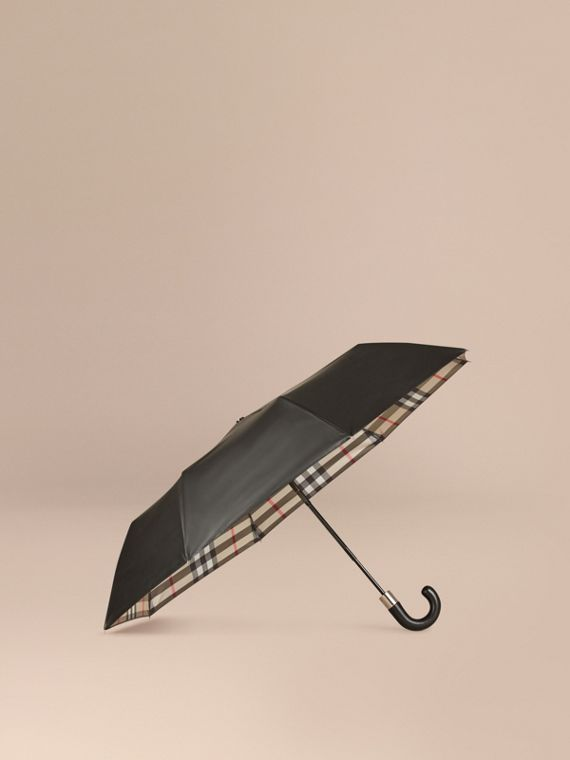 Check-lined Folding Umbrella in Camel