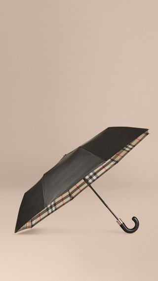 Check-lined Folding Umbrella