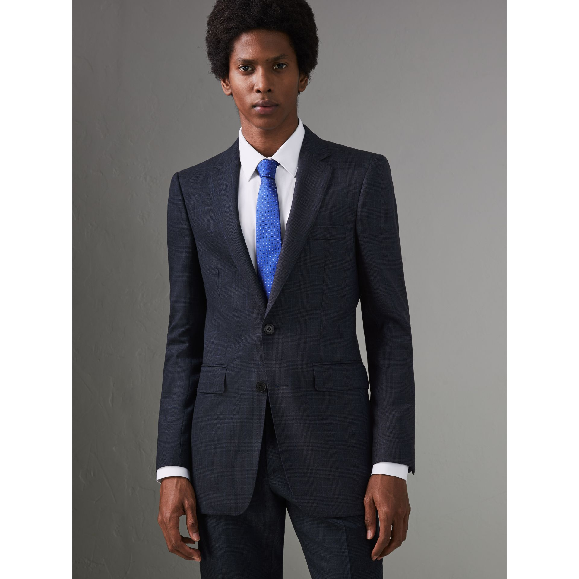 Modern Fit Check Wool Three-piece Suit in Bright Navy - Men | Burberry - gallery image 5
