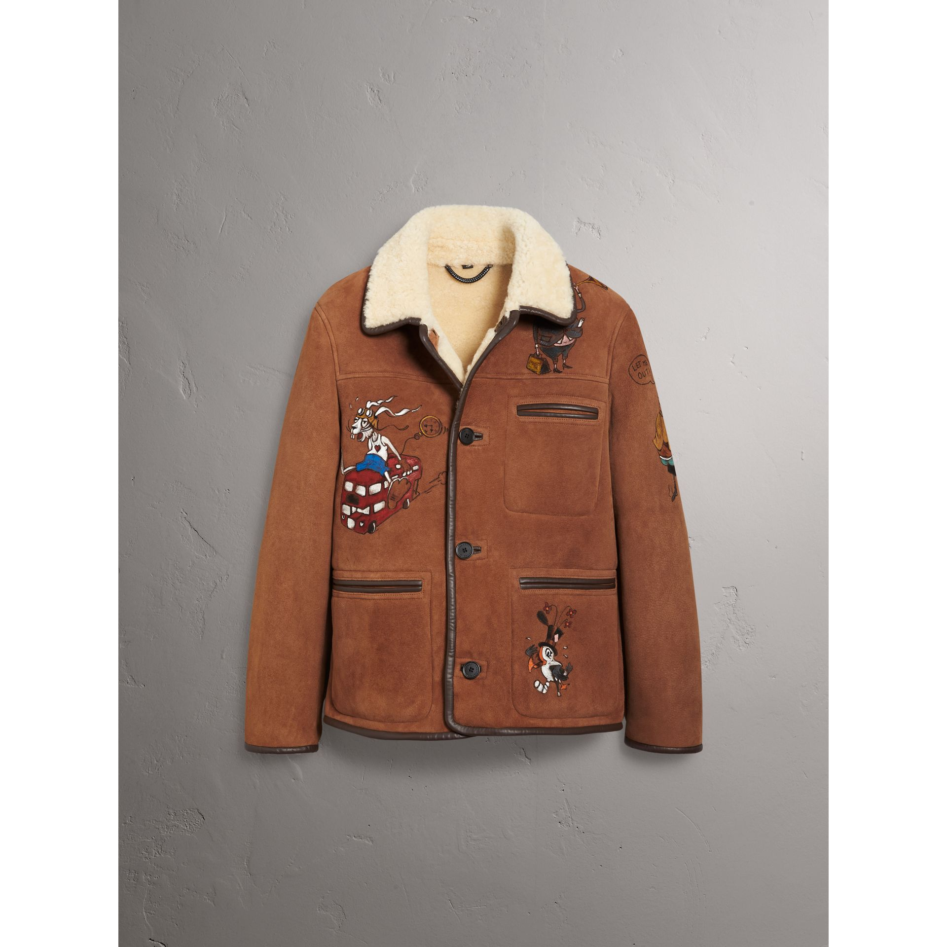Sketch Print Shearling Jacket in Biscuit - Men | Burberry United Kingdom - gallery image 3