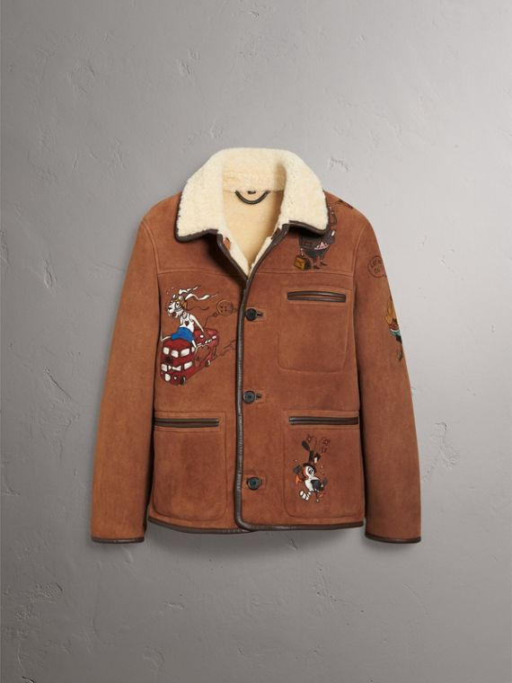 Sketch Print Shearling Jacket in Biscuit - Men | Burberry United Kingdom - cell image 3