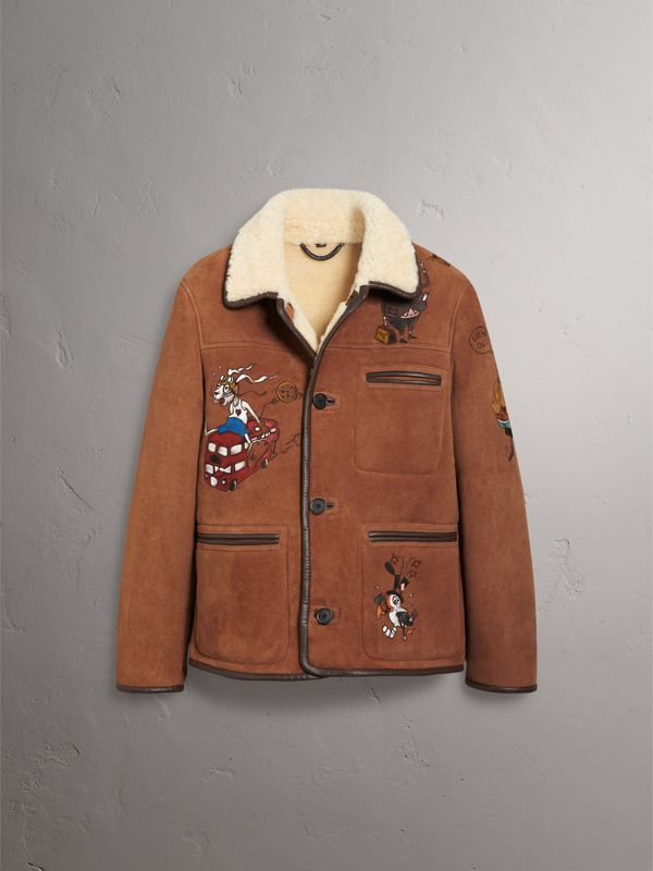 Sketch Print Shearling Jacket in Biscuit - Men | Burberry - cell image 3