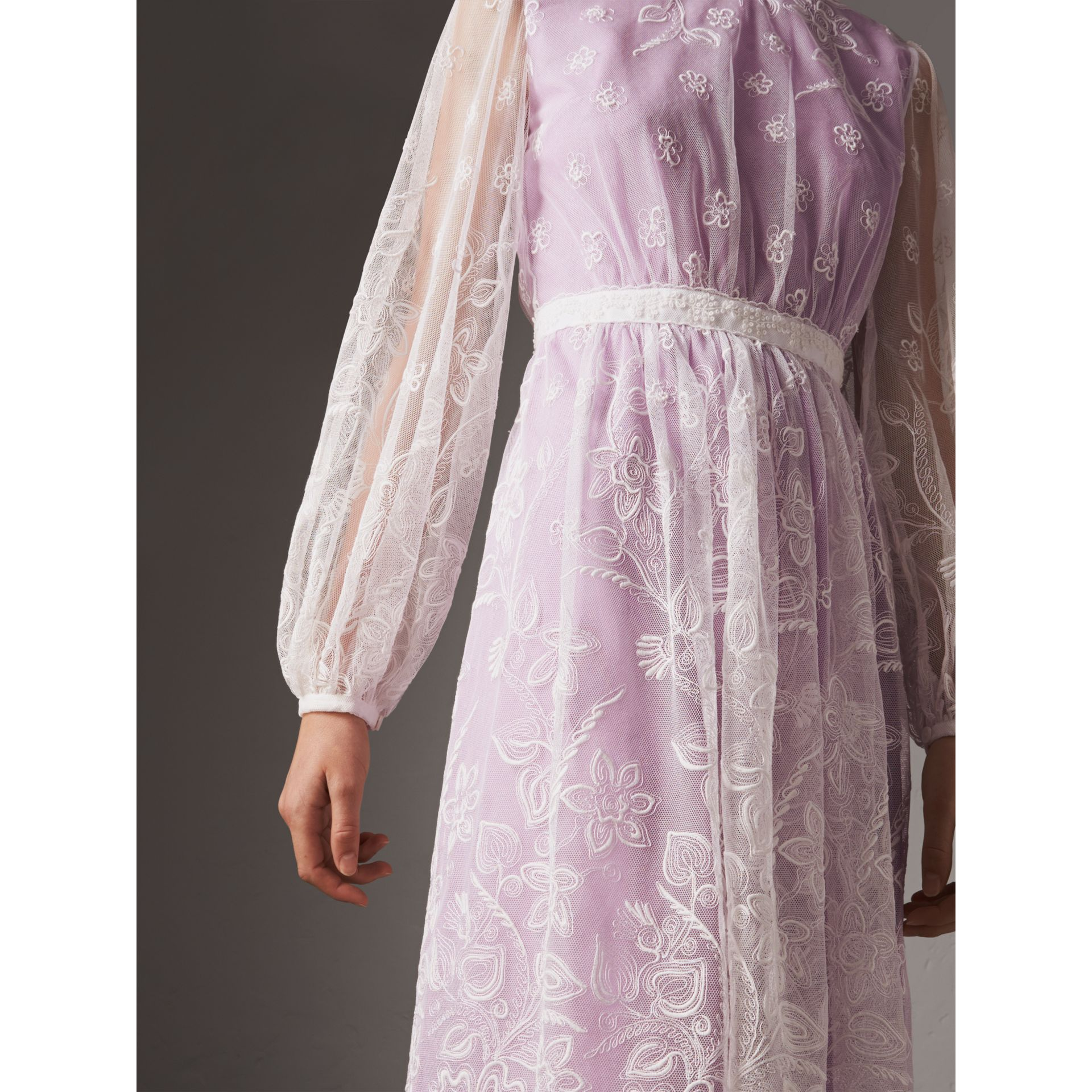 Puff-sleeve Embroidered Tulle Dress in Lilac/white - Women | Burberry - gallery image 2