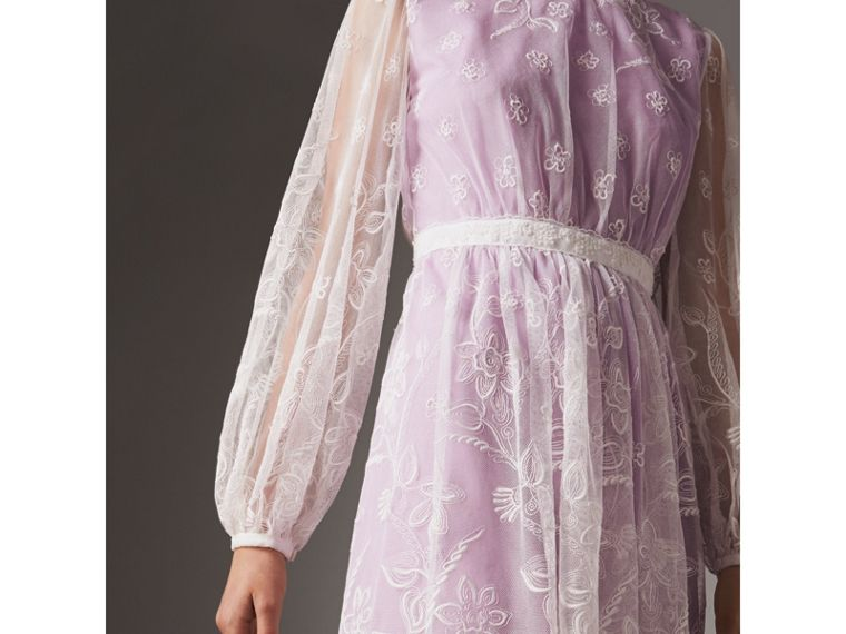 Puff-sleeve Embroidered Tulle Dress in Lilac/white - Women | Burberry - cell image 1