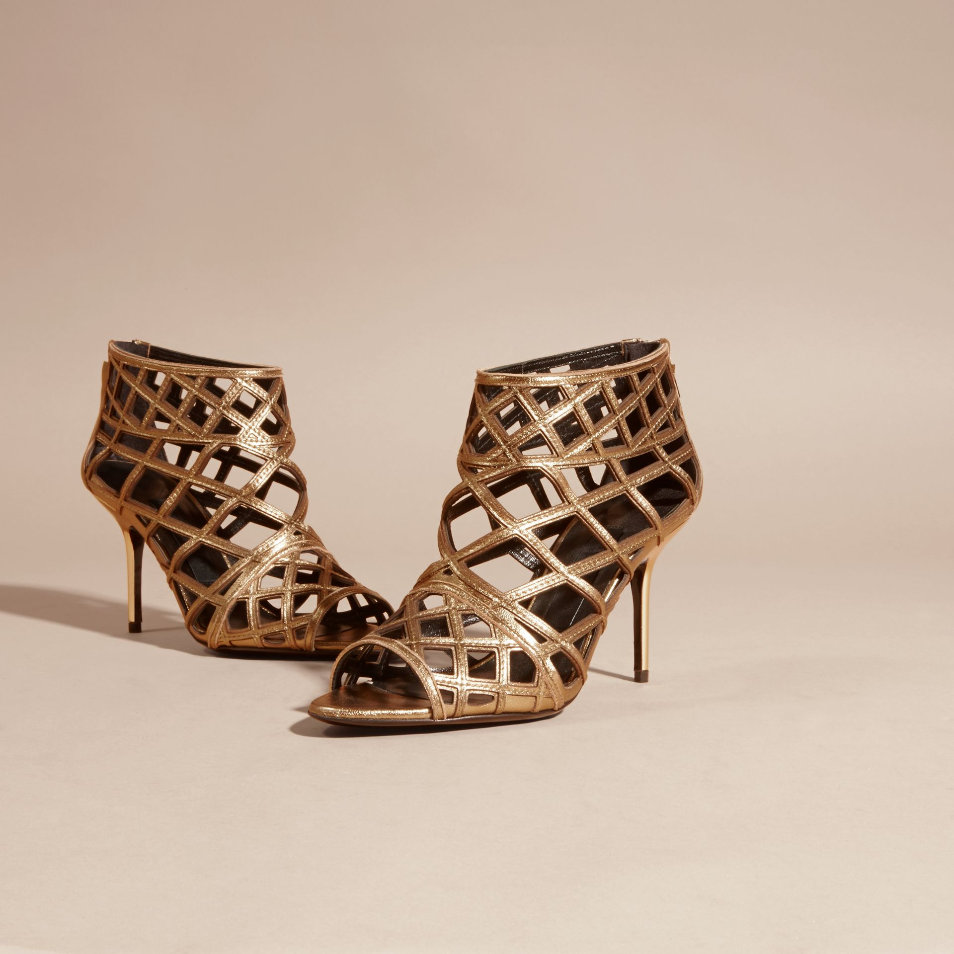 Heritage gold Cut-out Leather Ankle Boots - gallery image 3