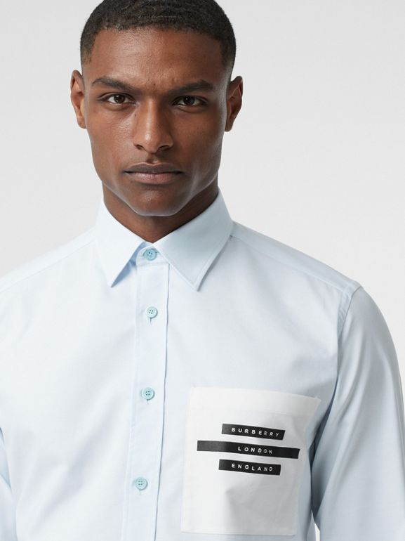 Classic Fit Tape Print Cotton Oxford Shirt in Sky Blue - Men | Burberry - cell image 1