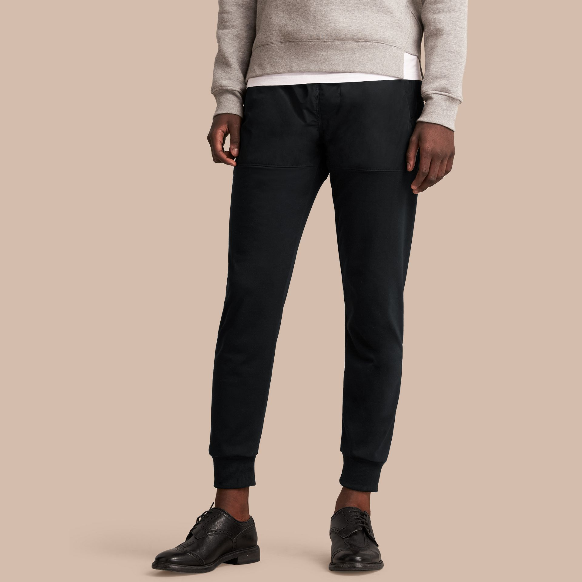 Sport Panel Cotton Blend Sweatpants in Black - Men | Burberry United Kingdom - gallery image 1