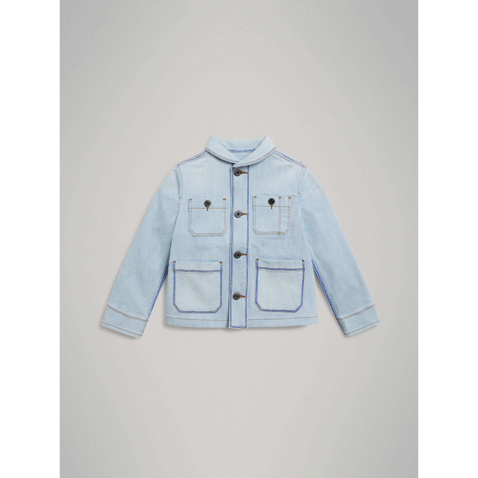 Marker Pen Print Denim Jacket in Light Blue - Girl | Burberry - gallery image 0