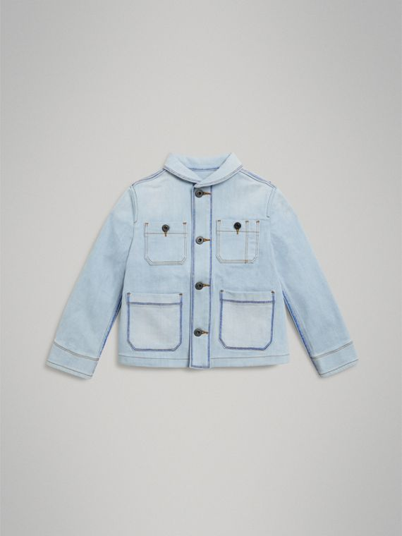 Marker Pen Print Denim Jacket in Light Blue