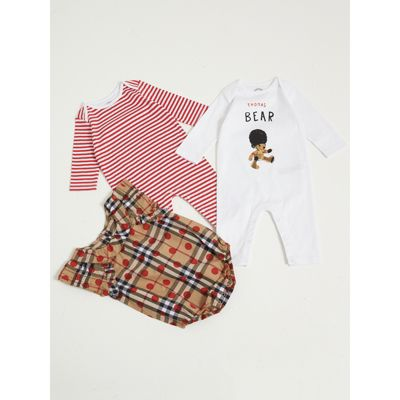 Cotton Three piece Baby Gift Set in Military Red