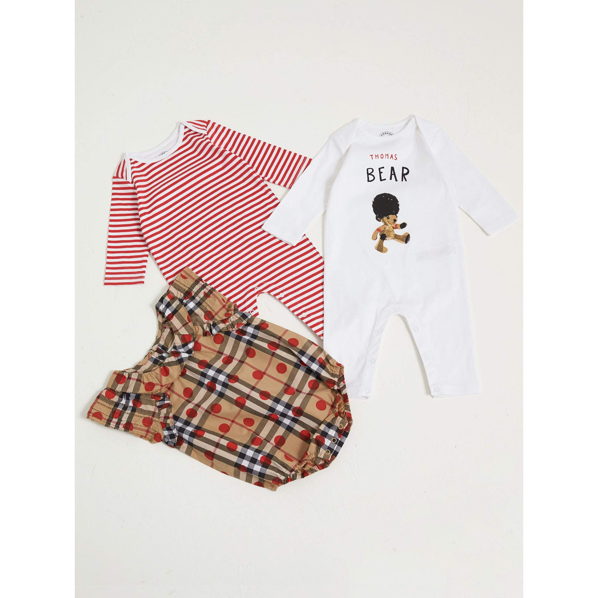 Cotton Three-piece Baby Gift Set in Military Red | Burberry United States - gallery image 1