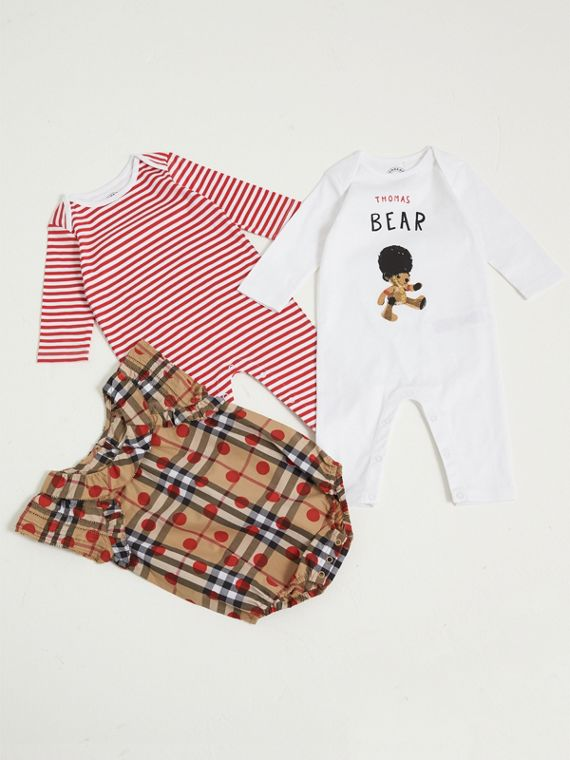 Cotton Three-piece Baby Gift Set in Military Red