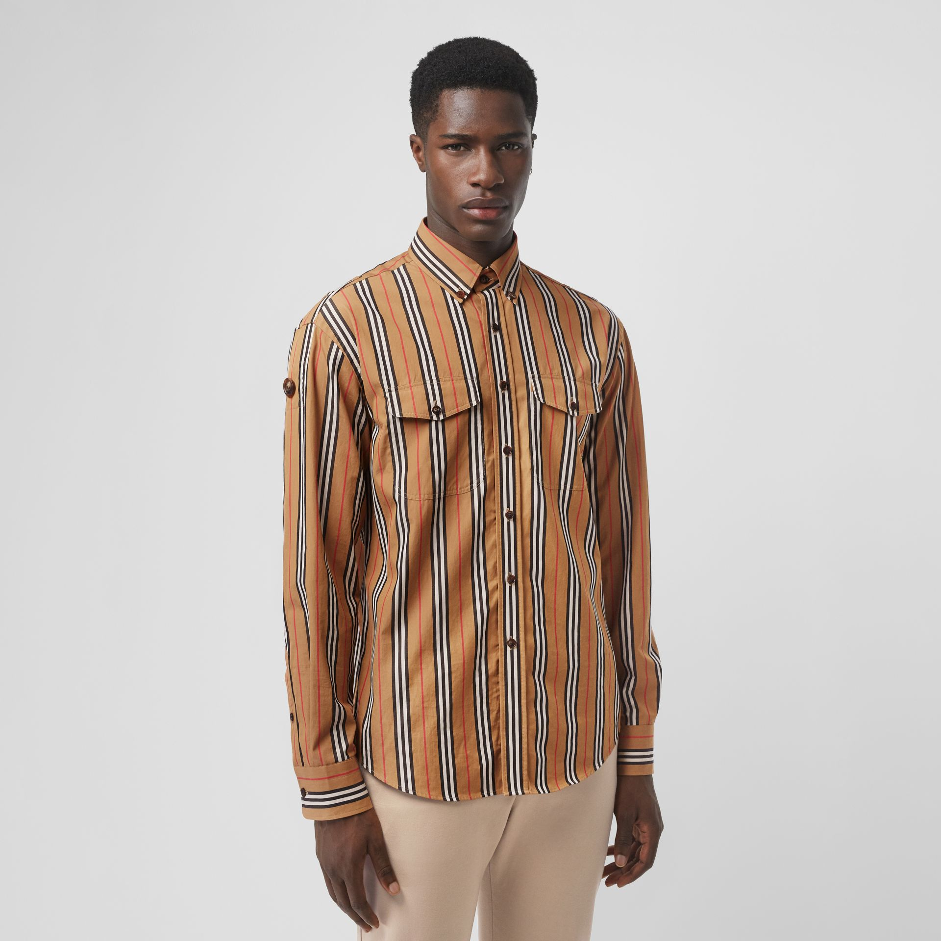 Icon Stripe Cotton Shirt in Antique Yellow - Men | Burberry - gallery image 0