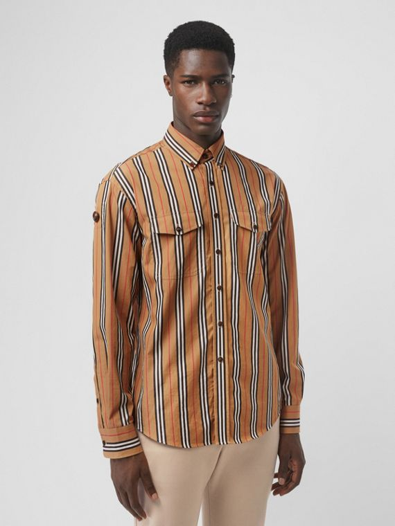 Heritage Stripe Cotton Shirt in Antique Yellow