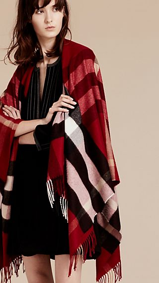 Poncho de lã e cashmere com estampa xadrez