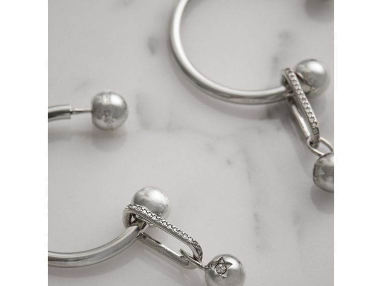 Crystal Charm Palladium-plated Hoop Earrings in Palladio/crystal - Women | Burberry - cell image 2