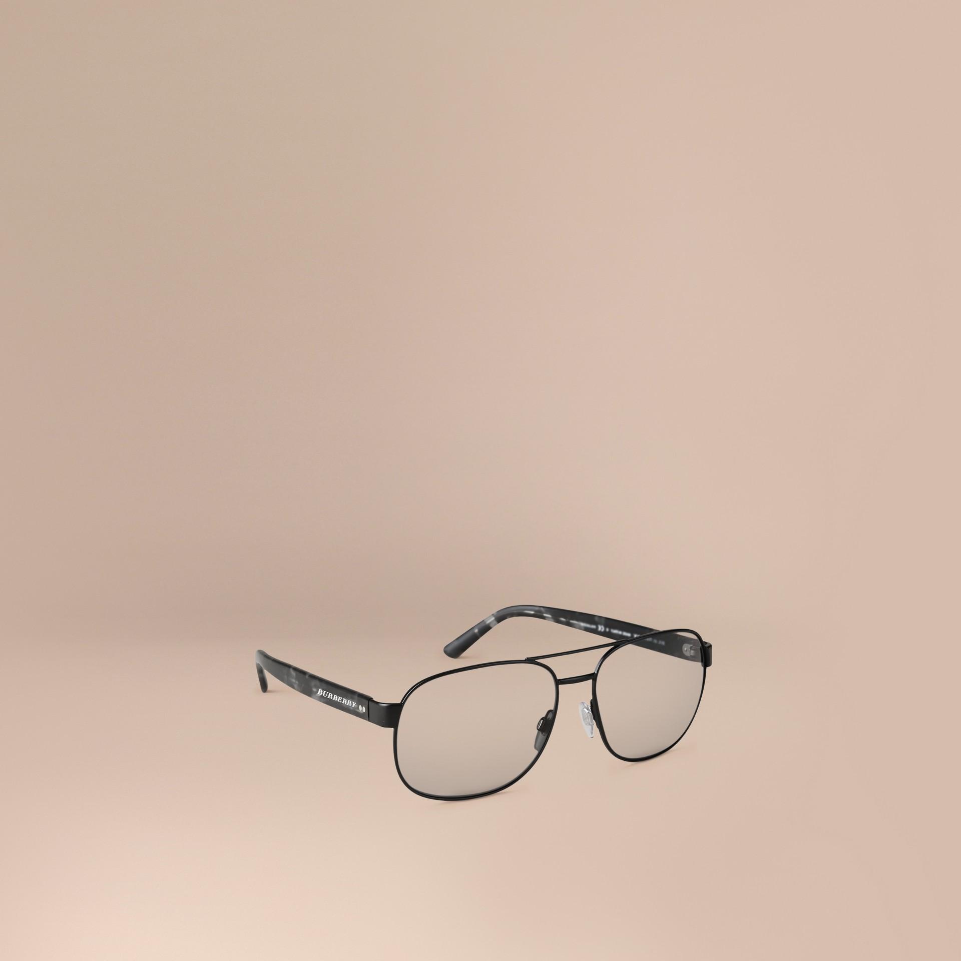 Matt black Square Frame Aviator Polarised Sunglasses Matt Black - gallery image 1