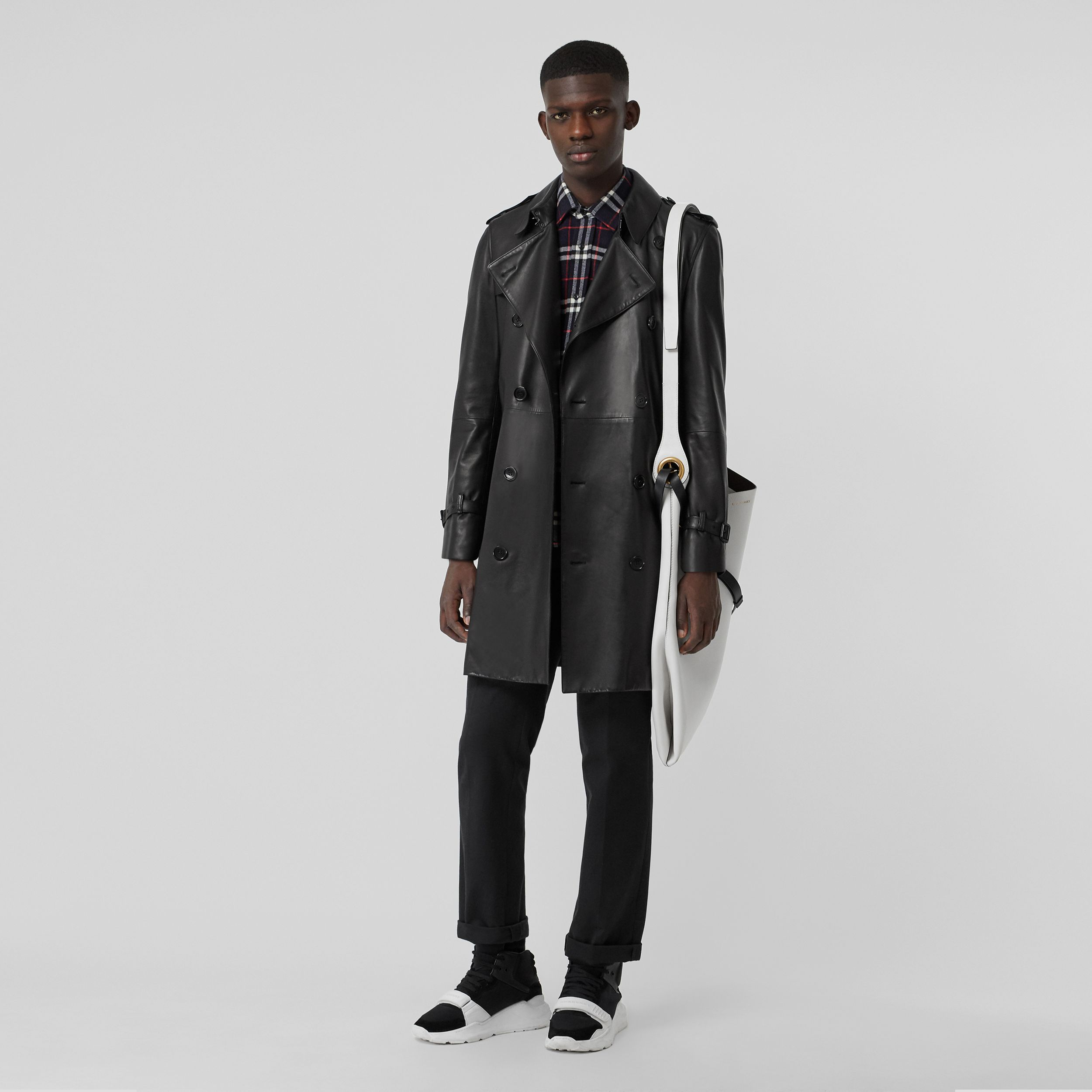 Lambskin Trench Coat in Black - Men | Burberry - 1