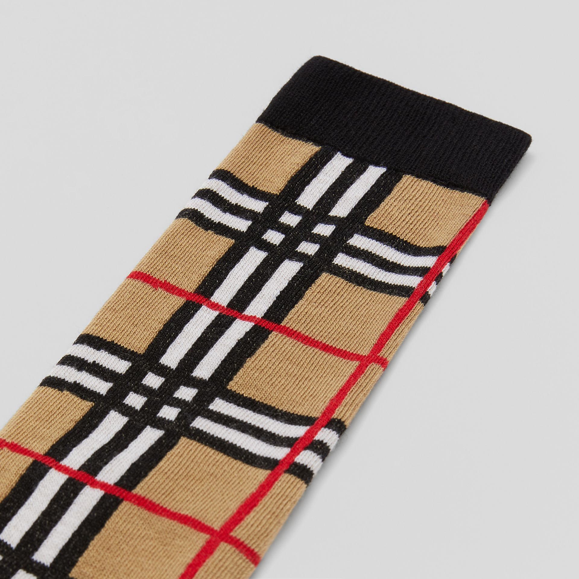 Check Intarsia Cotton Blend Socks in Archive Beige - Children | Burberry - gallery image 1