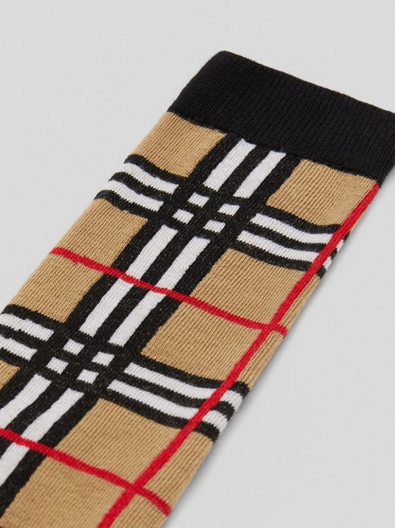 Check Intarsia Cotton Blend Socks in Archive Beige - Children | Burberry - cell image 1
