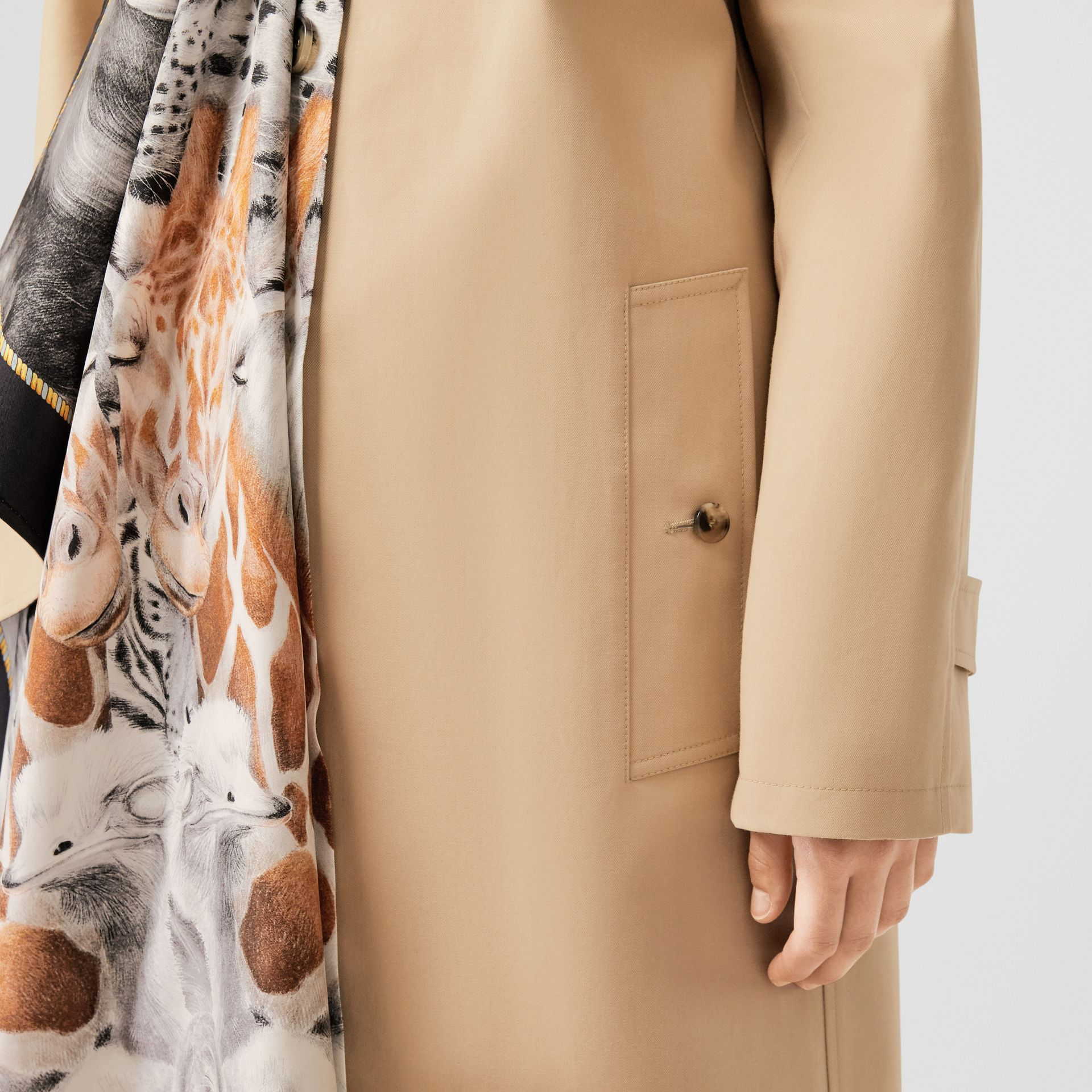 Animalia Print Silk Scarf Detail Cotton Car Coat in Soft Fawn - Women | Burberry - gallery image 5