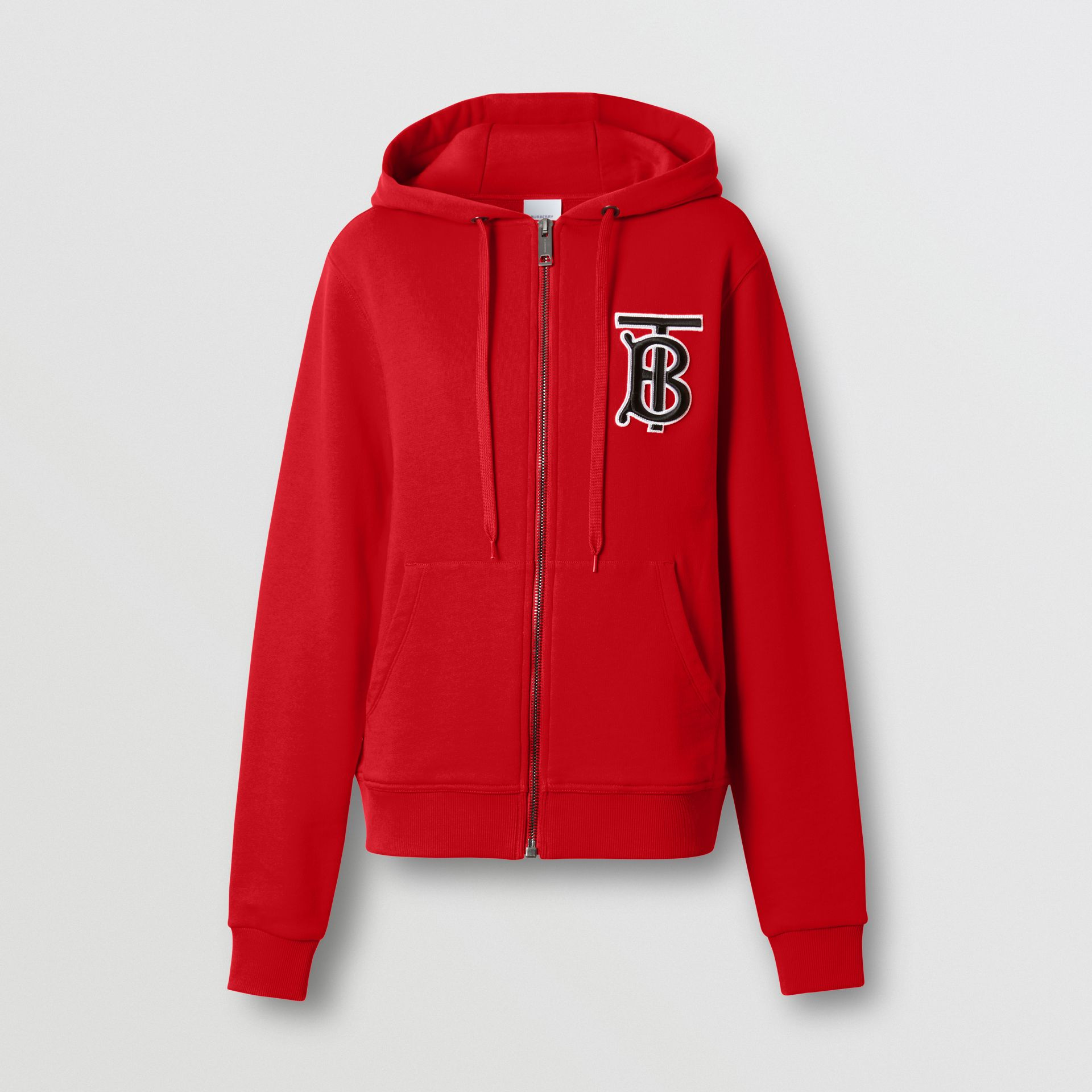 Monogram Motif Cotton Oversized Hooded Top in Bright Red - Women | Burberry - gallery image 3