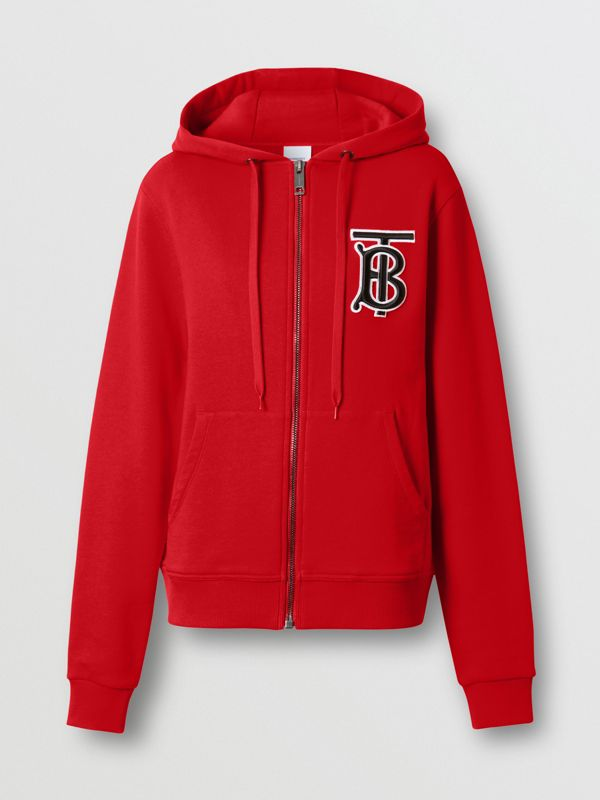 Monogram Motif Cotton Oversized Hooded Top in Bright Red - Women | Burberry - cell image 3