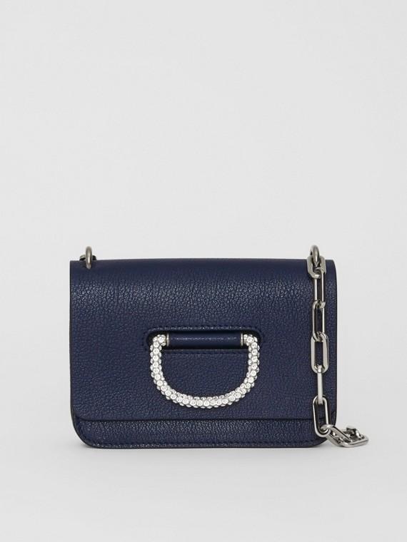 Bolso D-ring mini en piel con detalle de cristales (Azul Regencia)
