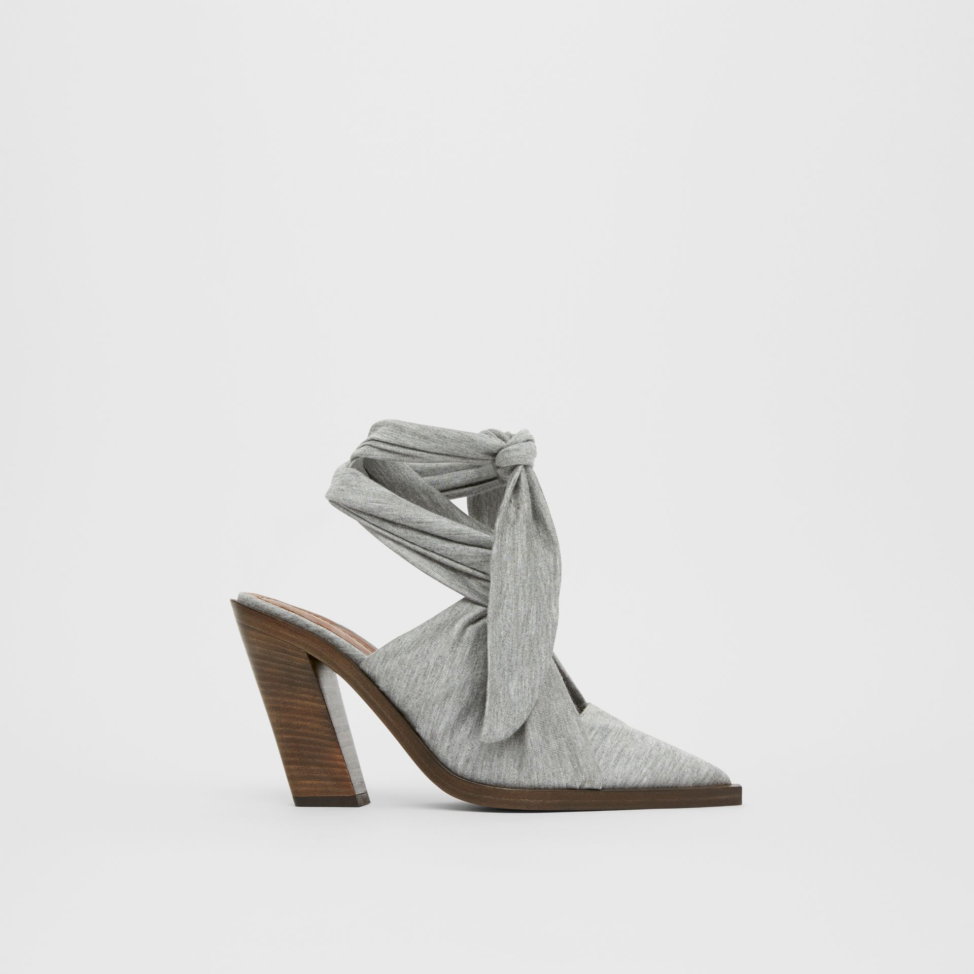 Scarf Tie Detail Jersey Point-toe Mules in Pewter Melange - Women | Burberry - gallery image 5