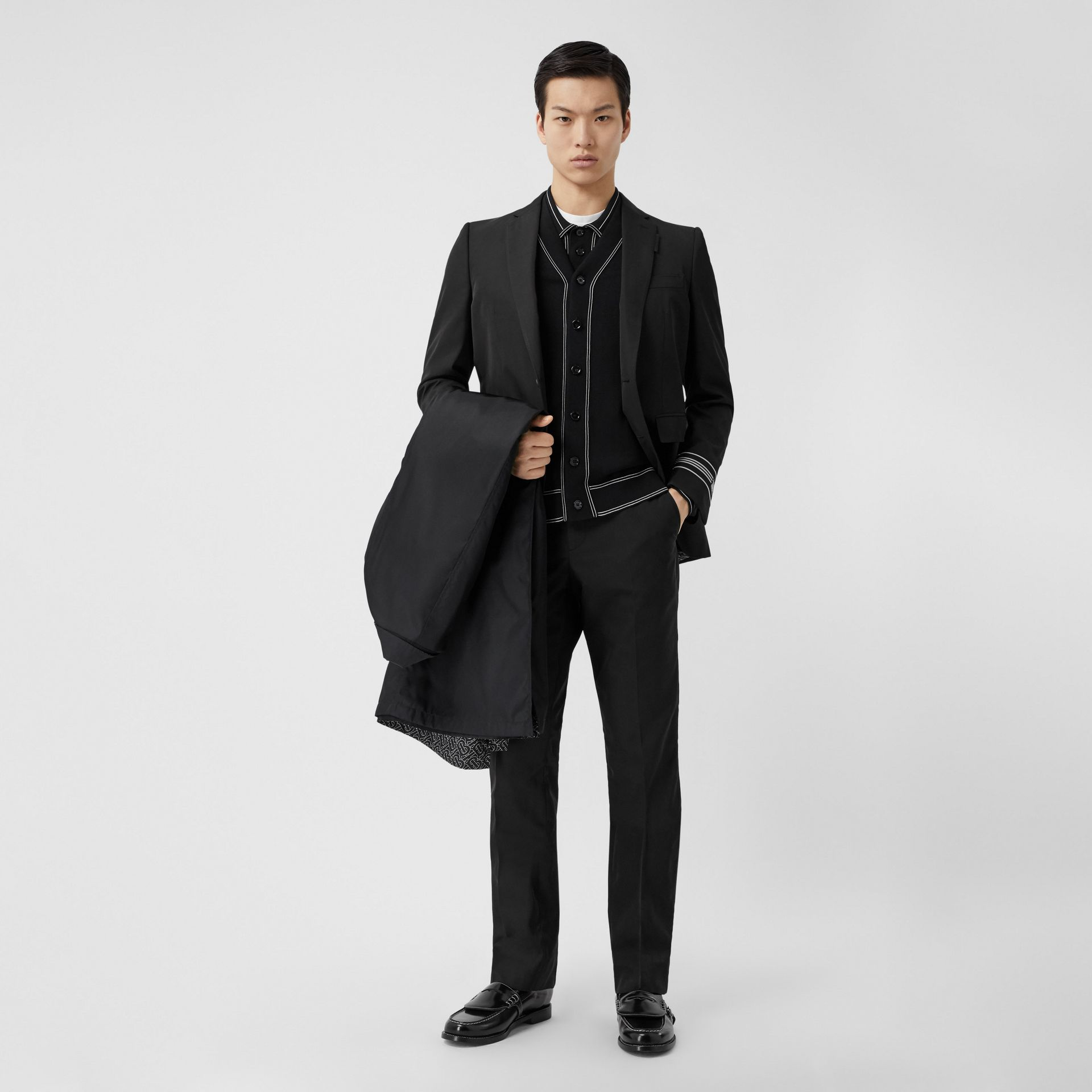 Classic Fit Stripe Detail Technical Twill Tailored Jacket in Black - Men | Burberry United Kingdom - gallery image 5