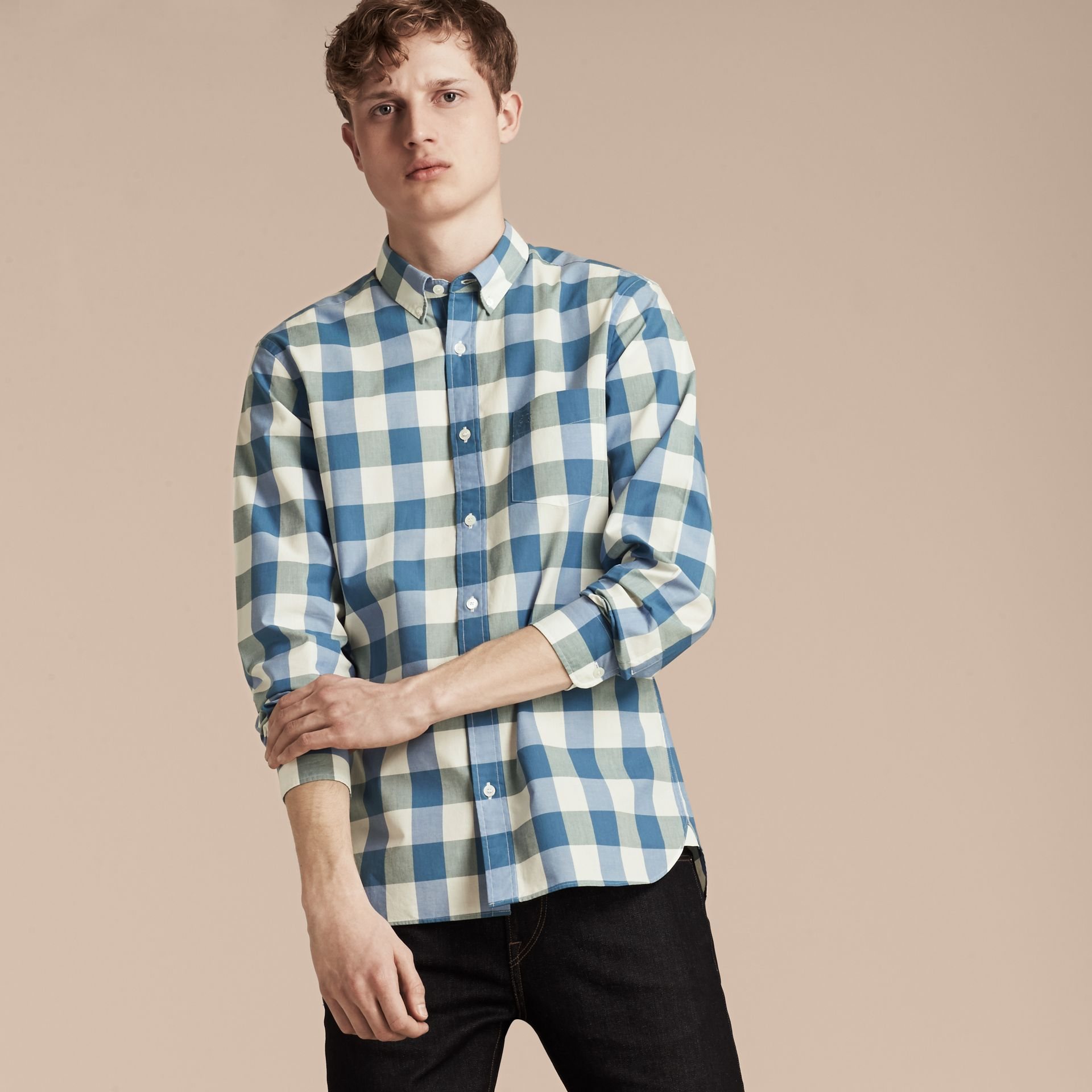 Blu ortensia intenso Camicia vichy in cotone con colletto button-down Blu Ortensia Intenso - immagine della galleria 6