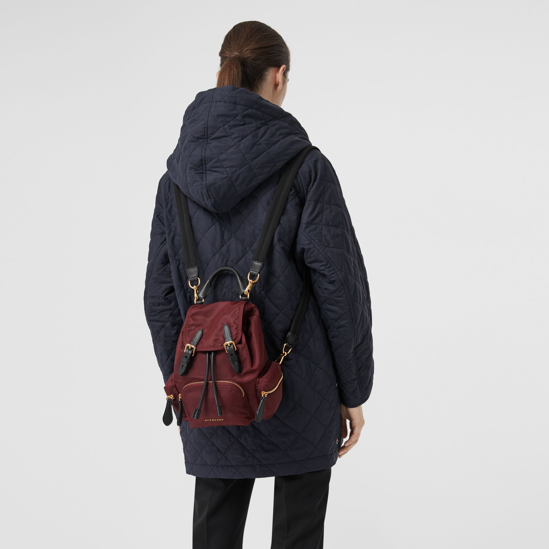 The Small Crossbody Rucksack in Nylon in Burgundy Red - Women | Burberry - gallery image 3
