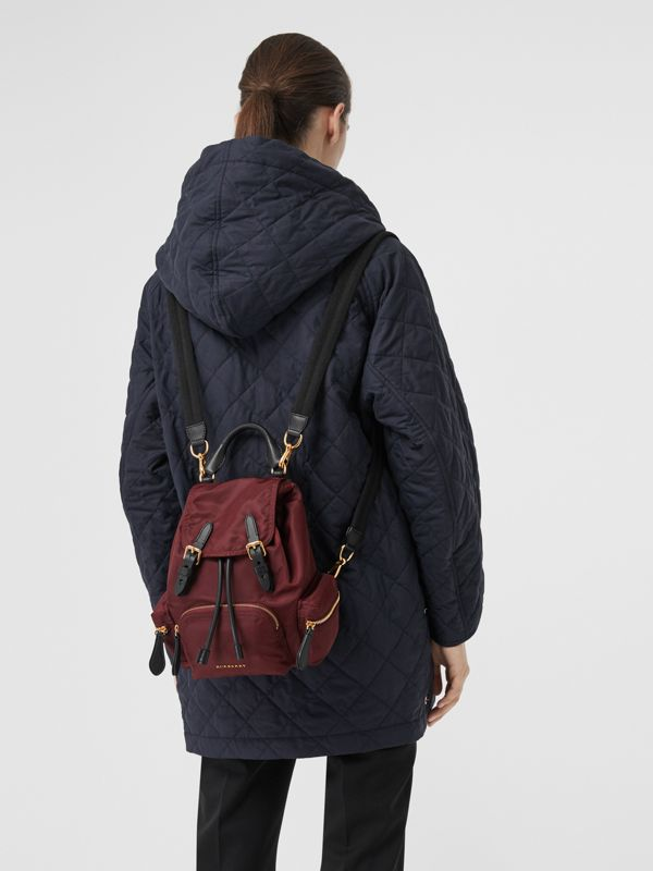 The Small Crossbody Rucksack in Nylon in Burgundy Red - Women | Burberry Australia - cell image 3