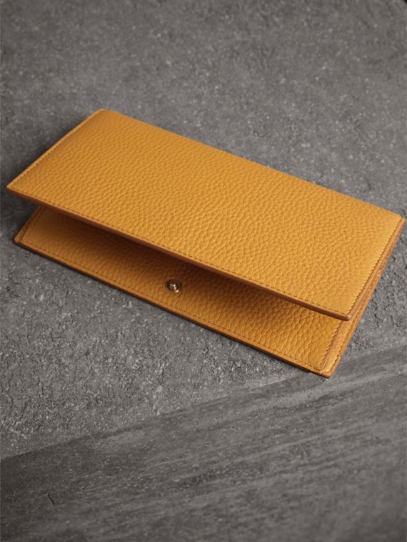 Embossed Leather Continental Wallet in Ochre Yellow | Burberry - cell image 2