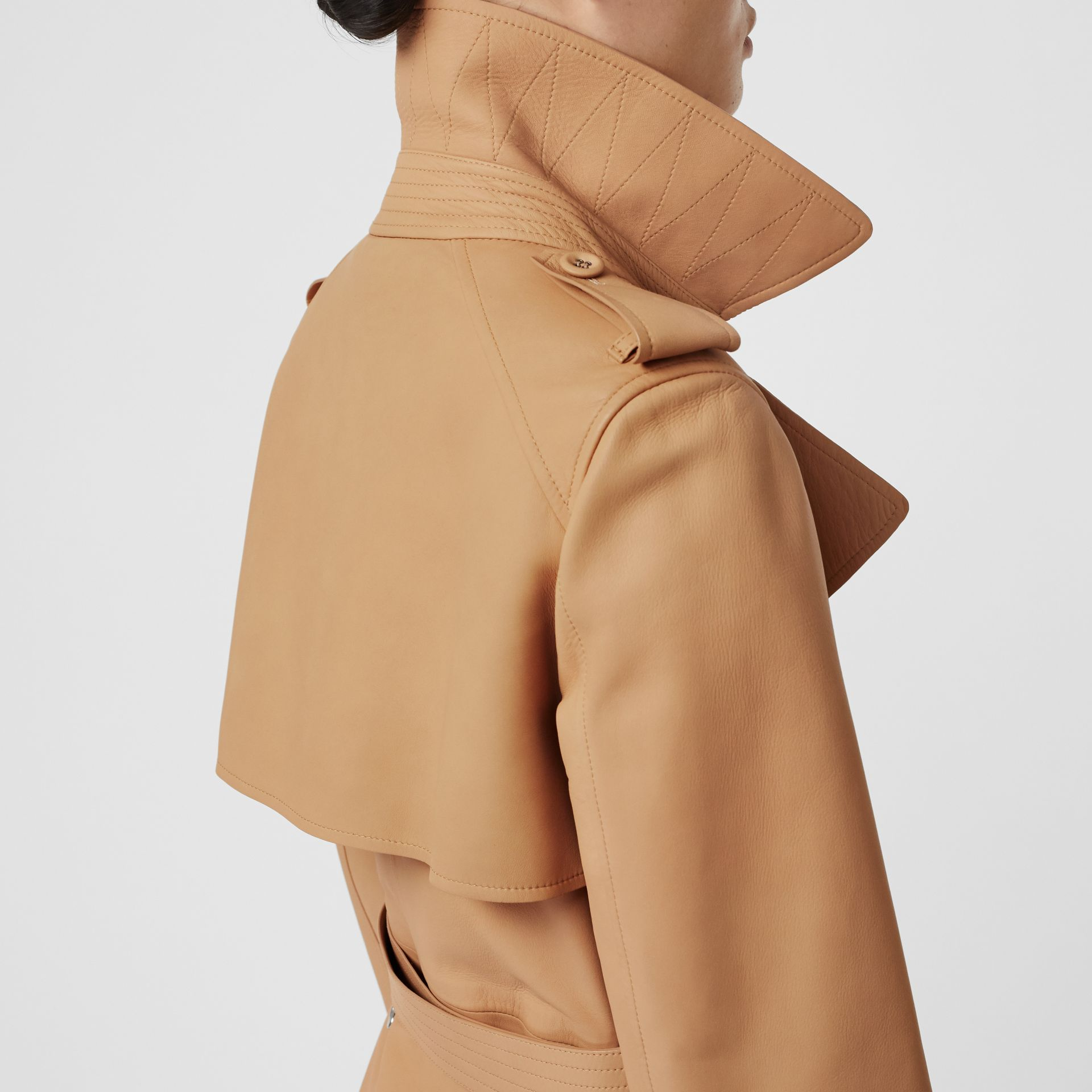Lambskin Wrap Trench Coat in Caramel - Women | Burberry - gallery image 4