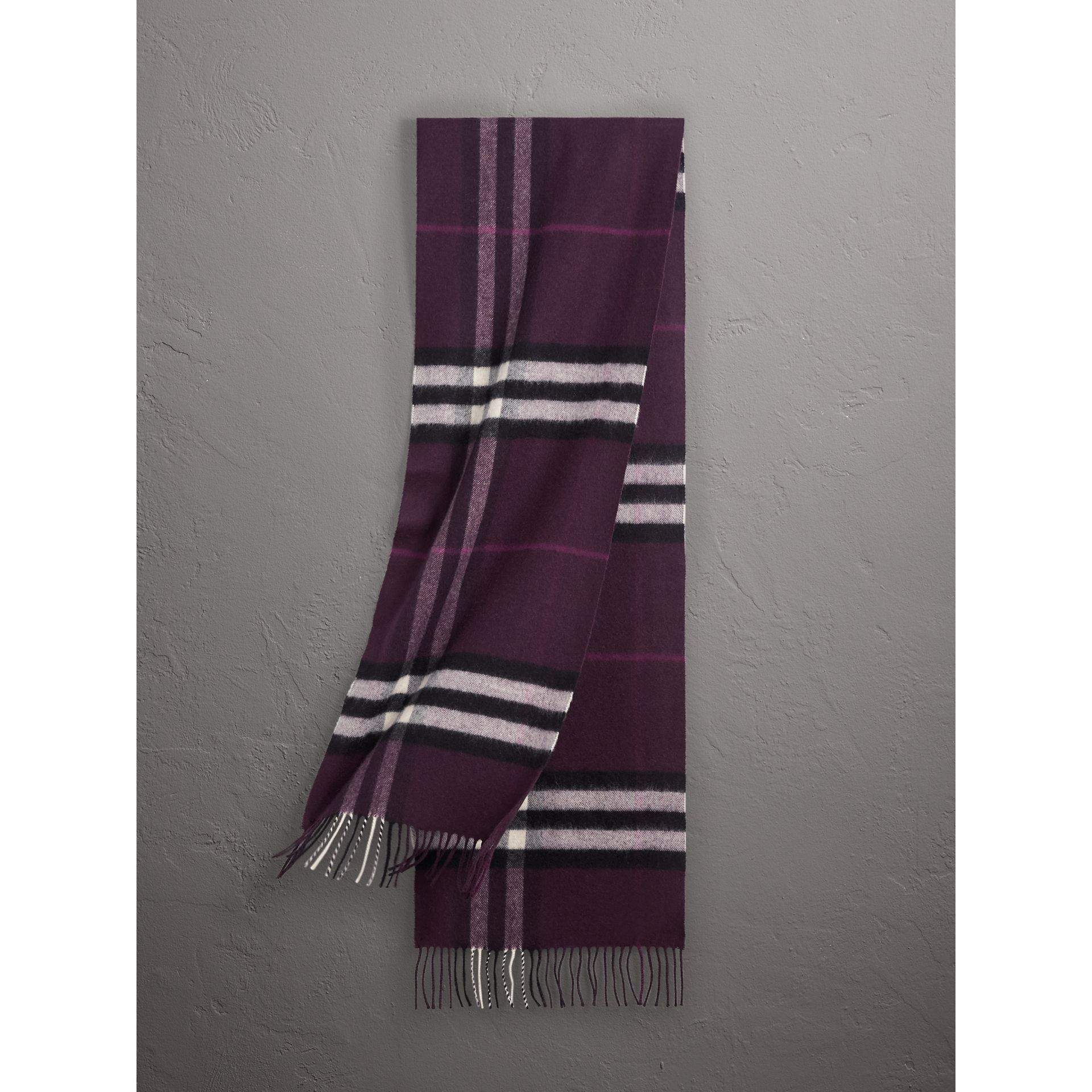 The Classic Check Cashmere Scarf in Aubergine | Burberry - gallery image 1